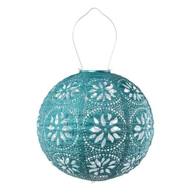 Stella Solar Lantern Boho Globe - Metallic Emerald