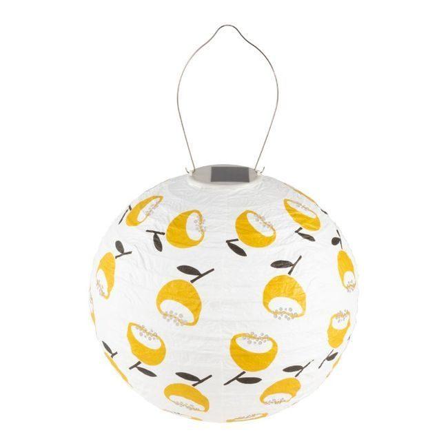 Soji Stella Tyvek Print and Punch - Lemon Poppy Globe 12 Solar Lantern