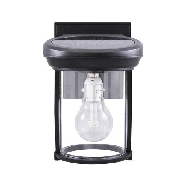 Solar Coach Lantern with GS Solar LED Light Bulb with Black Finish