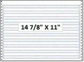"""14 7/8"""" x 11"""" - 15# 1-Ply Continuous Computer Paper (3,500 sheets/carton) No Vert. Perf - 1/2"""" Blue Bar Hi-Lite"""