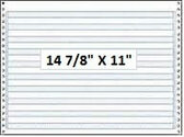 "14 7/8"" x 11"" - 20# 1-Ply Continuous Computer Paper (2,700 sheets/carton) No Vert. Perf - 1/2"" Blue Bar"