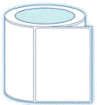 """1.5"""" x 0.75"""" Thermal Transfer Synthetic Label; 3"""" Core; 4 Rolls/case; 15000 Labels/roll"""