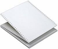 """14 7/8"""" x 11"""" - 15# 4-Part Continuous Computer Paper (750 sheets/carton) No Vert. Perf, Carbon Interleaf - 1/2"""" Green Bar"""