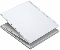 """14 7/8"""" x 8 1/2"""" - 15# 3-Part Continuous Computer Paper (1,100 sheets/carton) No Vert. Perf, Carbon Interleaf - 1/2"""" Green Bar"""