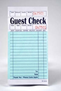 Single-Copy Paper Guest Checks (5,000 checks/case) - G3616