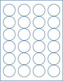 "1.625"" Circle  Laser/Inkjet Labels; 24 up; (100 sheets/box) - Standard White Matte"