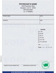 """Washington compliant 4 1/4"""" x 5 1/2"""" Vertical 1-part Rx Pads (8 Pads @ 100 sheets/pad) - Blue"""