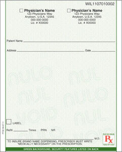 """Florida compliant 4 1/4"""" x 5 1/2"""" Vertical 1-part Rx Pads (8 Pads @ 100 sheets/pad) - Green"""