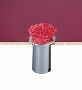 "In-Counter Straw Holder - 5.12"" Diameter - Stainless Steel"