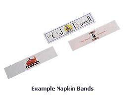 "1-Color Custom Printed Paper Napkin Bands (for 4 1/4"" x 1 1/2"" Paper Napkins) - 20,000 bands/case"