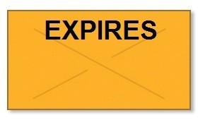 "Garvey GX2212 Pricing Labels (1 Case = 20 sleeves @ 11,025 labels/sleeve = 220,500 labels) - Orange/Black - ""Expires"""