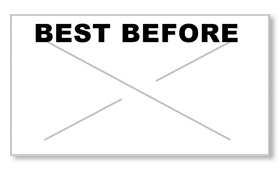 "Garvey GX2212 Pricing Labels (1 Case = 20 sleeves @ 11,025 labels/sleeve = 220,500 labels) - White/Black - ""Best Before"""