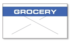 """Garvey GX2212 Pricing Labels (1 Case = 20 sleeves @ 11,025 labels/sleeve = 220,500 labels) - White/Blue - """"Grocery"""""""