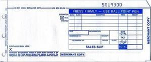 """2-Part LONG (3 1/4"""" x 7 7/8"""") Sales Imprinter Slips (100 slips/pack)"""