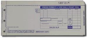 """3-Part LONG (3 1/4"""" x 7 7/8"""") Sales Imprinter Slips (100 slips/pack) - Blue"""