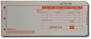 """3-Part LONG (3 1/4"""" x 7 7/8"""") Credit Imprinter Slips (100 slips/pack) - Red"""