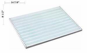"14 7/8"" x 8 1/2"" - 15# 1-Ply Continuous Computer Paper (3,500 sheets/carton) No Vert. Perf - 1/2"" Green Bar"