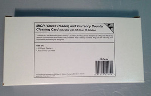 MICR/Check Reader / Currency Counter Cleaning Cards ( 25 / Box)