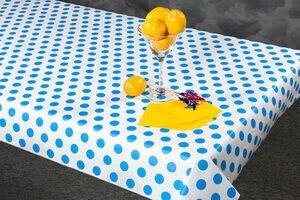 """40"""" x 300'  Paper Table Cover (1 roll) - Blue Polka Dot Design"""