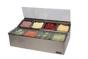 EZ-Chill Food Prep Center - (8) 1/6 Pans, (4) Flex Lids, (2) Ice Liner
