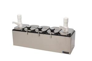 Topping Bar - (2) 2 1/2 Qt Jars w/Ultra Pumps, (3) 2 1/2 Qt Jars w/Ladles