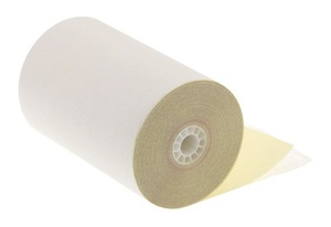 """4 1/2"""" x 95'  2-Ply Carbonless Paper  (24 rolls/case) - White / Canary"""