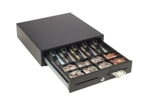 "MMF VAL-u Line Cash Drawer (14"" x 16"", Manual, 4 Bills / 5 Coins Till, Touch Open, 2 Slots, Black)"