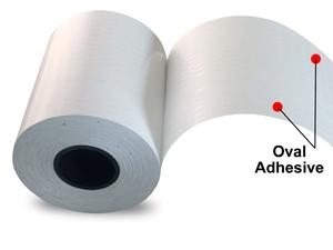 """3.125"""" x 150'  Print & Stick Thermal Paper (18 rolls/case) - Oval Adhesive"""