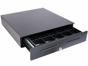 """APG Vasario Manual Cash Drawer (Painted Front, Push Button, without Media Slot and 14"""" x 16"""") - Color: Black"""