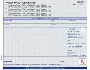 "California compliant (single drug format) 5 1/2"" x 4 1/4"" Horizontal 1-part Rx Pads (8 Pads @ 100 sheets/pad) - Blue"