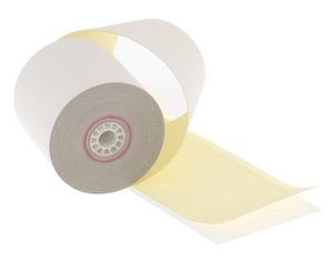 """3"""" x 95'  2-Ply Carbonless Paper  (50 rolls/case) - White / Canary"""