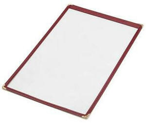 "14"" x 8 1/2"" - Clear Stitched Cafe Menu Covers (25 covers/pack) - 1 Panel / 2 View (Black)"