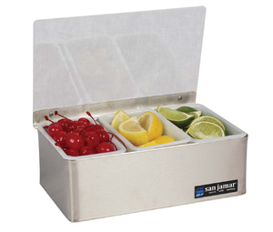 Garnish Tray - Non-Chilled - (3) 1 Pt w/Plex Lids