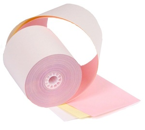 "3"" x 67'  3-Ply Carbonless Paper  (50 rolls/case) - White / Canary / Pink"