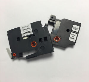 ".35"" x 26.2' (9mm x 8m) Brother Compatible P-Touch Label Tape for TZe-221 - Black on White"
