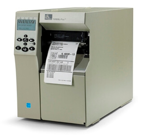 "Zebra 105SLPlus Industrial Label Printer - 4"" Print Width, 300 DPI, Rewind with Peel, 802.11 B/G"