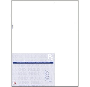 """California compliant 8 1/2"""" x 11"""" Full Sheet Laser Rx Paper (500 sheets/package) - Blue"""