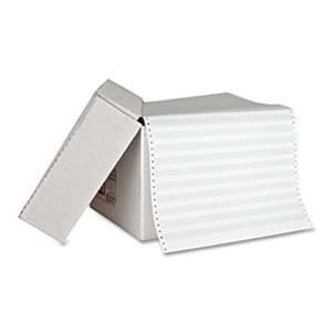 """14 7/8"""" x 11"""" - 15# 2-Part Premium Carbonless Computer Paper (1,700 sheets/carton) No Vert. Perf - 1/2"""" Green Bar"""