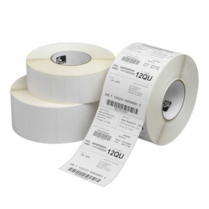 """3"""" x 3""""  Zebra Thermal Transfer Z-Ultimate 3000T White Polyester Label;  1"""" Core;  910 Labels/roll;  8 Rolls/carton"""