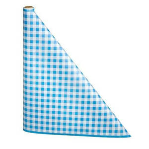 """40"""" x 300'  Paper Table Cover (1 roll) - Blue / White Gingham"""