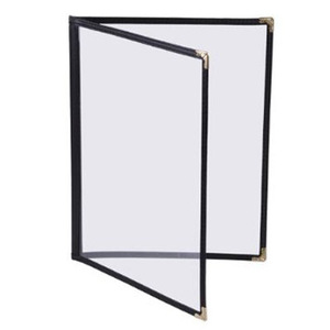 """8 1/2"""" x 5 1/2"""" - Clear Stitched Caf� Menu Covers (25 covers/pack) - 2 Panel / 4 View (Black)"""