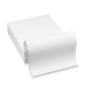 "9 1/2"" x 11"" - 20# 1-Ply Continuous Computer Paper (2,500 sheets/carton) Clean Edge Perf - Blank White"