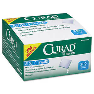 "Curad Alcohol Swabs, 1"" x 1"", 200/Box"