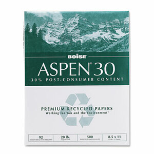 """Boise Cascade 8-1/2"""" x 11"""" ASPEN 30% Recycled Office Paper, 92 Bright, 20lb (5,000 sheets/carton) - White"""