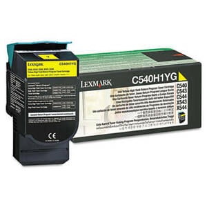 Lexmark C540H1YG High-Yield Toner, 2000 Page-Yield, Yellow