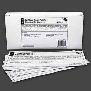 Cashless Ticket Printer Cleaning Cards (25 / Box)  *Clearance Item*