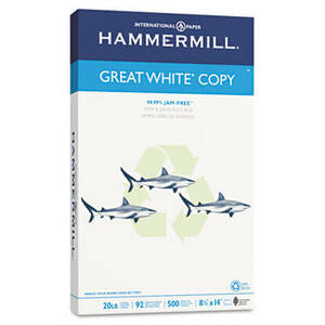 Hammermill Great White Recycled Copy Paper, 92 Brightness, 20lb, 8-1/2 x 14, 500 Shts/Ream