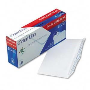 Grip-Seal Business Envelopes,Side Seam, #10, White Wove, 50/Box