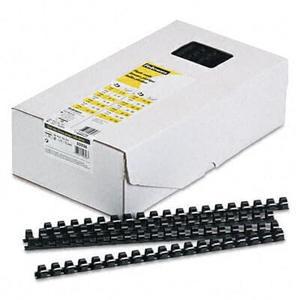 """Plastic Comb Bindings, 1/2"""" Diameter, 90 Sheet Capacity, Black, 100 Combs/Pack"""