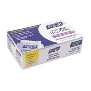 "Purell 902210BX Sanitizing Hand Wipes, 5"" x 7"" (100/Box)"